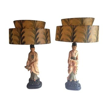 Pre-owned  Mid-Century Asian Lamps with Fiberglass Shades