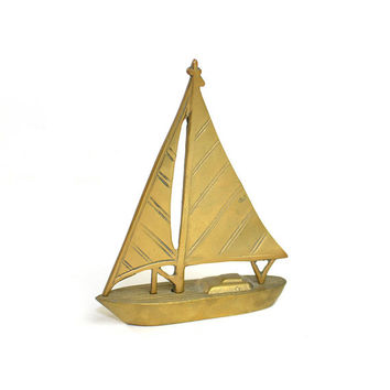 Brass Sailboat Figurine - Made in India, Beautiful Gold Tone & Patina - Rustic, Rugged Paperweight - Vintage Home Decor