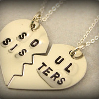 Soul Sisters Necklaces  Hand Stamped BFF by TwentySix7Handmade