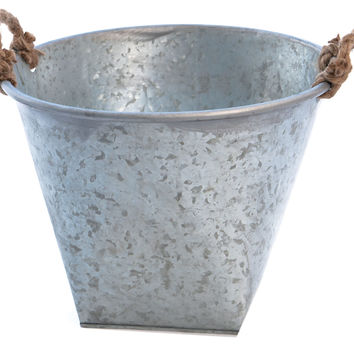 "11"" Galvanized Tin Planter, Outdoor Urns, Planters & Jardinieres"