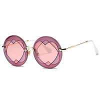 Womens New Round Circle Heart Shaped Graphic Metal Frame Cosplay Sunglasses