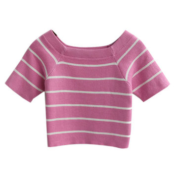 Pink Crop Top with White Stripes