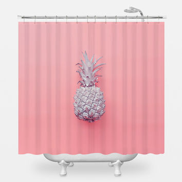 Tiny Pink Pineapple Shower Curtain