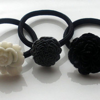Black White & Gray flower hair band hair accessories set of 3 ponytail holders elastics lot womens accessory shades