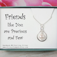 Gift for friend, thank you gift for best friend necklace, sterling silver pearl infinity necklace, hostess gift, friend's birthday gift box