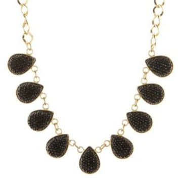 Black Pave Stone Statement Necklace by Charlotte Russe