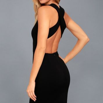 Darling Dance Black Backless Bodycon Midi Dress