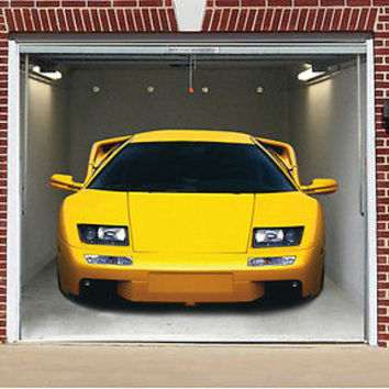 3D EFFECT GARAGE DOOR BILLBOARD COVER STICKER YELLOW SPORT CAR 8,04x6,89 FEET