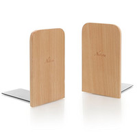 Set of 2 Natural Beech Wood Office Desktop Book Ends / Decorative Bookshelf Display Organizers - MyGift®