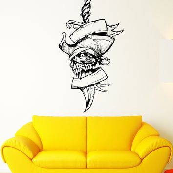 Wall Decal Pirate Skull Head Sword Dagger Skeleton Zombie Vinyl Decal Unique Gift (ed333)