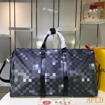 HCXX 19Aug 631 Louis Vuitton LV N40080 Damier Graphite Pixel Canvas Keepall Duffel Bag 50-29-23cm