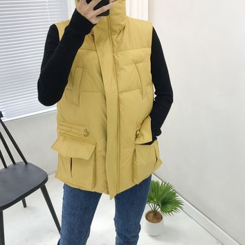 Women Fashion Solid Color Zip Embroidery Pocket Sleeveless Cotton-padded Clothes Vest Jacket Coat