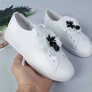 Prada Miu Miu White Sneakers With White Flower - Best Deal Online