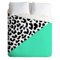 Rebecca Allen Leopard And Mint Duvet Cover