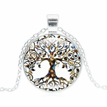 XUSHUI XJ Fashion Tree of Life Necklace Women Jewelry Glass Dome Cabochon Pendant Silver Chain Long Necklace Friend Gifts