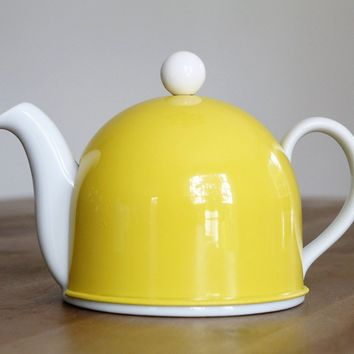 Delilah Porcelain Teapot, Yellow Stainless Steel Cover- USA shipment only