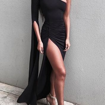 Black Irregular Asymmetric Shoulder Fashion Maxi Dress