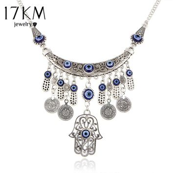 17KM Vintage Silver Color Statement Necklaces For Women 2017 Fatima Eye Hand Tibetan Pendants Ethnic Jewelry Maxi Accessories