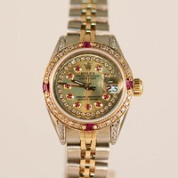 GENUINE Ladies' Rolex Steel & Gold Datejust Rubies & Diamonds 6917