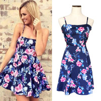 Floral Strappy Skater Mini Dress with Crochet Accent