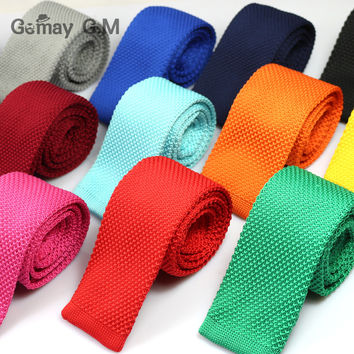 New Men Knitting Solid slim neck ties Classic polyester Neckties Fashion Plaid Mans Ties Spring casual woven ties