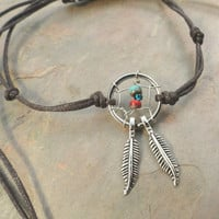 Dream Catcher Anklet or Bracelet Red Turquoise