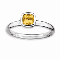 Sterling Silver Stackable Expressions Cushion Cut Citrine Ring: RingSize: 7