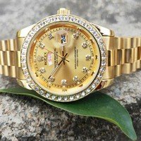 Rolex Fashionable Pink Watch Women Quartz Watch Wrist Watch White Diamond Gold B