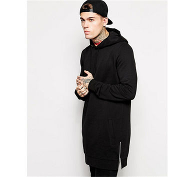 Men's Long Black Hip Hop Streetwear Hoodie With Side Zip