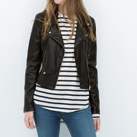 Black Leather Notched Long-Sleeve Zipper Jacket
