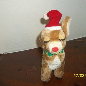 "vintage 1974 dakin red nosed reindeer wearing a santa hat plush 9"" tall"