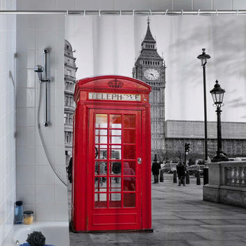london big ben pattern shower curtain, custom shower curtain.