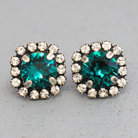 Emerald Stud Earrings Emerald Swarovski Crystal Stud Earrings Gift for Her Emerald Wedding Bridesmaids Emerald Earrings Rhinestone Earrings