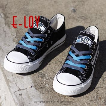 So Cool Seattle Seahawks Logo Print Canvas Shoes USA Hot Fashion Fans Casual Shoes Painted Seattle Shoes Free Shipping