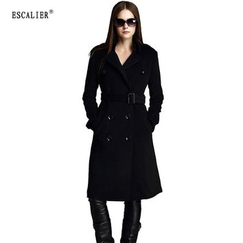 Women Coats Wool Blend Overcoat Woolen Sashes Pockets Outerwear Double Breasted Coat