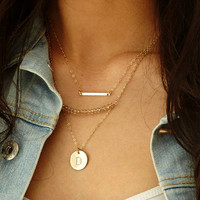 Layered Gold Necklace Set ~ Simple Dainty Bar Necklace with Initial Necklace or Simple Disc ~ Crystal Beaded Bar Necklace ~ Carrie Bradshaw