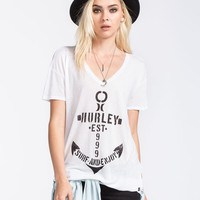 Hurley Surf Anchor Riot Womens Tee White  In Sizes