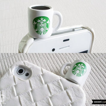 SALE30%OFF: Miniature Starbucks Coffee Mug iPhone Plug . Phone Charm . Phone Plug . Dust Plug // Coffee, LoL, Funny, Cafe, Chocolate