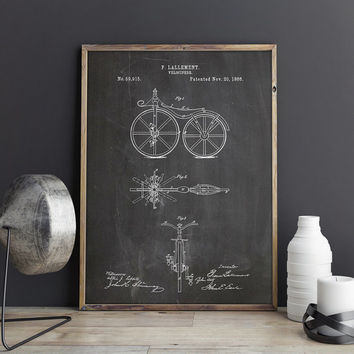 Bicycle Patent Print, First Bicycle Poster, Bicycle Poster, Bicycling Wall Art, Bicycle Wall Art, Bicycle Wall Print, Bike, INSTANT DOWNLOAD