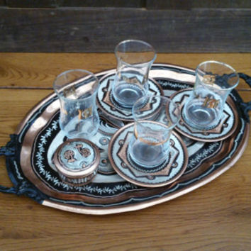 Vintage Copper Toned Kusadasi Turkish Tea Set Glasses Sugar Coasters Tray