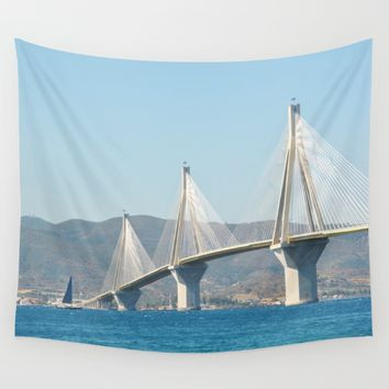 Rio Antirrio Bridge Wall Tapestry by Azima