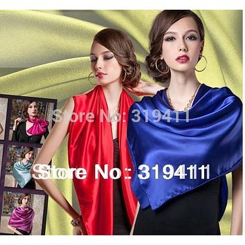 2017 new spring solid color Silk Square Scarf Women Fashion Brand High Quality imitate Silk Satin Scarves Shawl Hijab SC0272