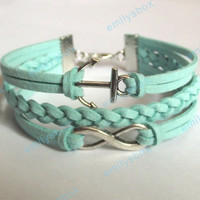 infinity bracelet, anchor bracelet, infinity charm and anchor charm, men's women's leather bracelets, braided bracelets