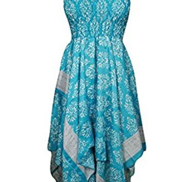 Mogul Womens Veronica Dress Handkerchief Hem Recycled Blue Vintage Sari Boho Halter Sundress