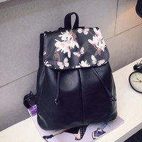 Girl Leather School Bag Travel Backpack Satchel Women Shoulder Rucksack Floral