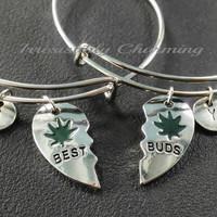 Sale.......Partners in crime, two bestfriends, best buds charm bracelet, silver tone expandable bangles, monogram personalized item No.896