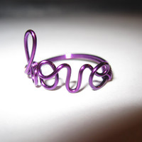 Free Shipping Purple Love Ring Wire Wrapped Dainty Unique Gifts Valentines Day