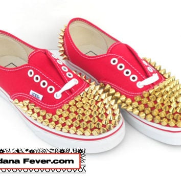 Vans Authentic Red Gold Round Pyramid Studs - FREE SHIPPING - by Bandana Fever