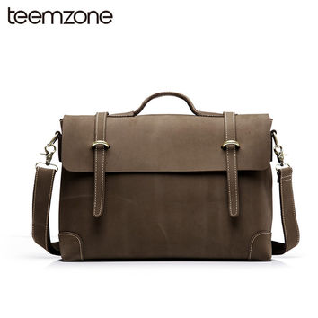 Trend New Sell  Men's Crazy Horse Genuine Leather Vintage Laptop Briefcase Messenger Shoulder Attache Portfolio Tote Bag T0780