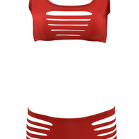 Red Cut Out Strappy Two Piece Swimsuit
